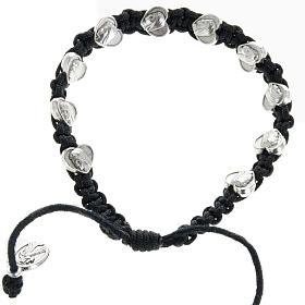 Bracelet dizainier sur corde et médailles coeur s1
