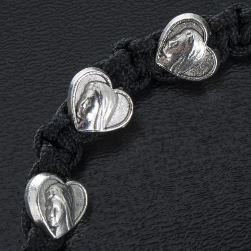 Bracelet dizainier sur corde et médailles coeur 2