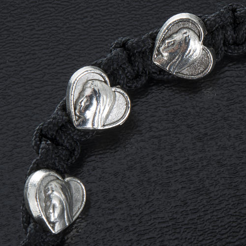 Bransoletka ze sznurka medalik serce 2