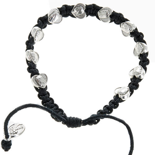 Bracelet in cord with heart medals 1