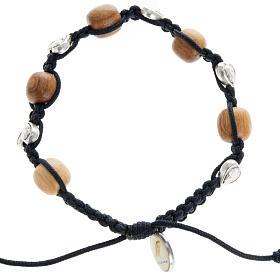 Bracelet dizainier bois d'olivier coeurs Medjugorje s1