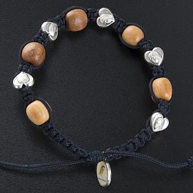 Bracelet dizainier bois d'olivier coeurs Medjugorje s2