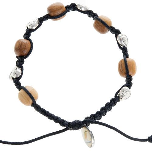 Bracelet dizainier bois d'olivier coeurs Medjugorje 1
