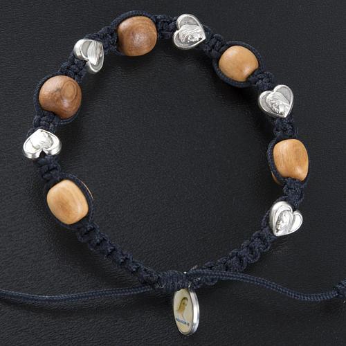 Bracelet dizainier bois d'olivier coeurs Medjugorje 2