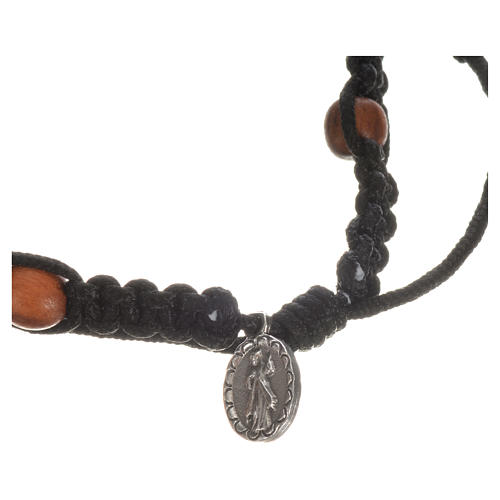 Bracelet with cross, hearts and olive wood grains 17