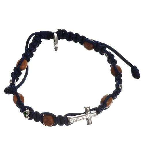 Bracciale croce, cuori grani olivo 4