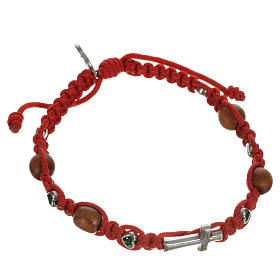 Bracelet with cross, hearts and olive wood grains s12