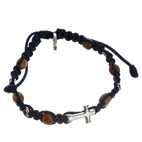 Bracelet with cross, hearts and olive wood grains s13