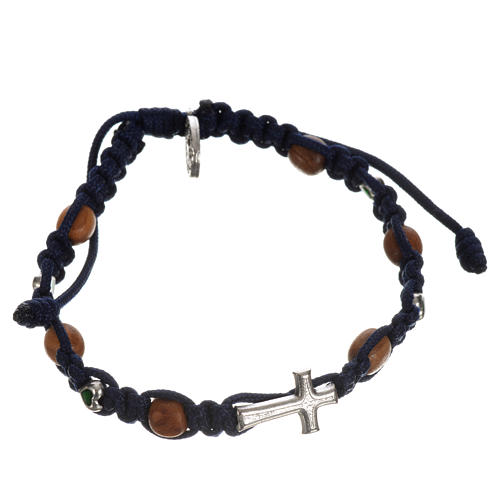 Bracelet with cross, hearts and olive wood grains 13