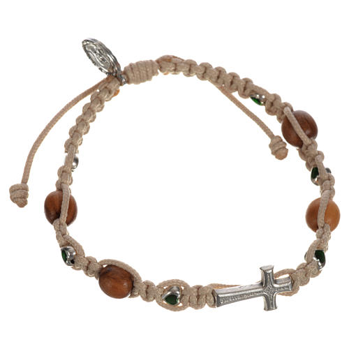 Bracelet with cross, hearts and olive wood grains 14