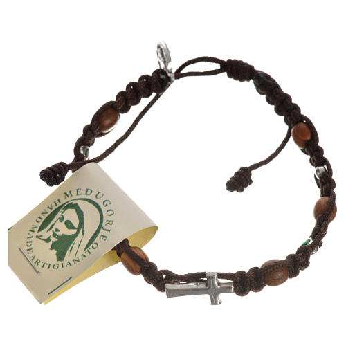 Bracelet with cross, hearts and olive wood grains 15
