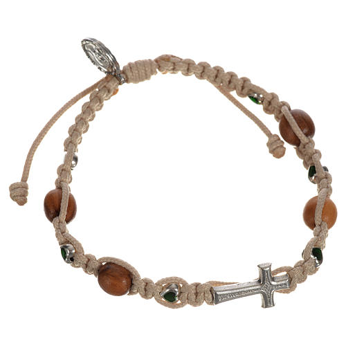 Bracelet with cross, hearts and olive wood grains 5
