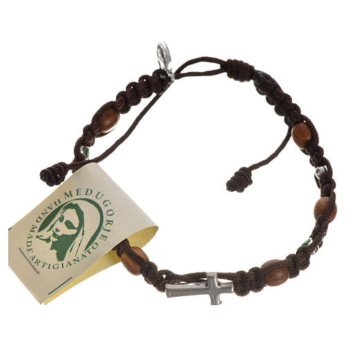 Bracelet with cross, hearts and olive wood grains 6