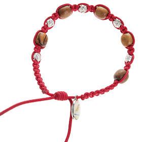 Bracelets, dizainiers: Bracelet dizainier Medjugorje bois d'olivier et roses