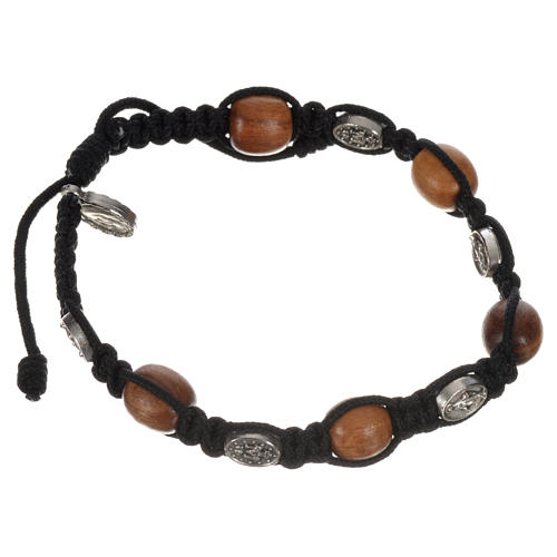 Bracelet in olive with Miraculous Medals 8