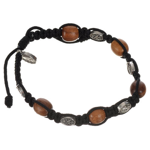 Bracelet in olive with Miraculous Medals 2