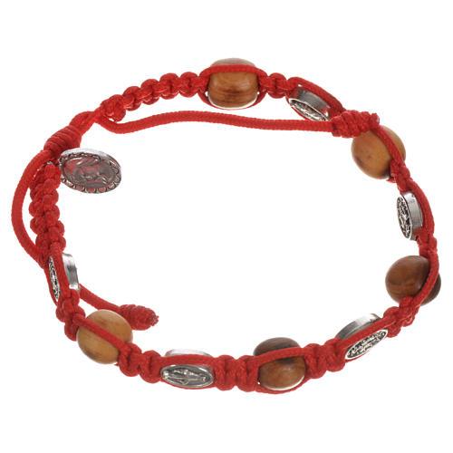 Bracelet dizainier bois olivier médaille Miraculeuse 9