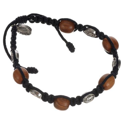 Bracelet dizainier bois olivier médaille Miraculeuse 10