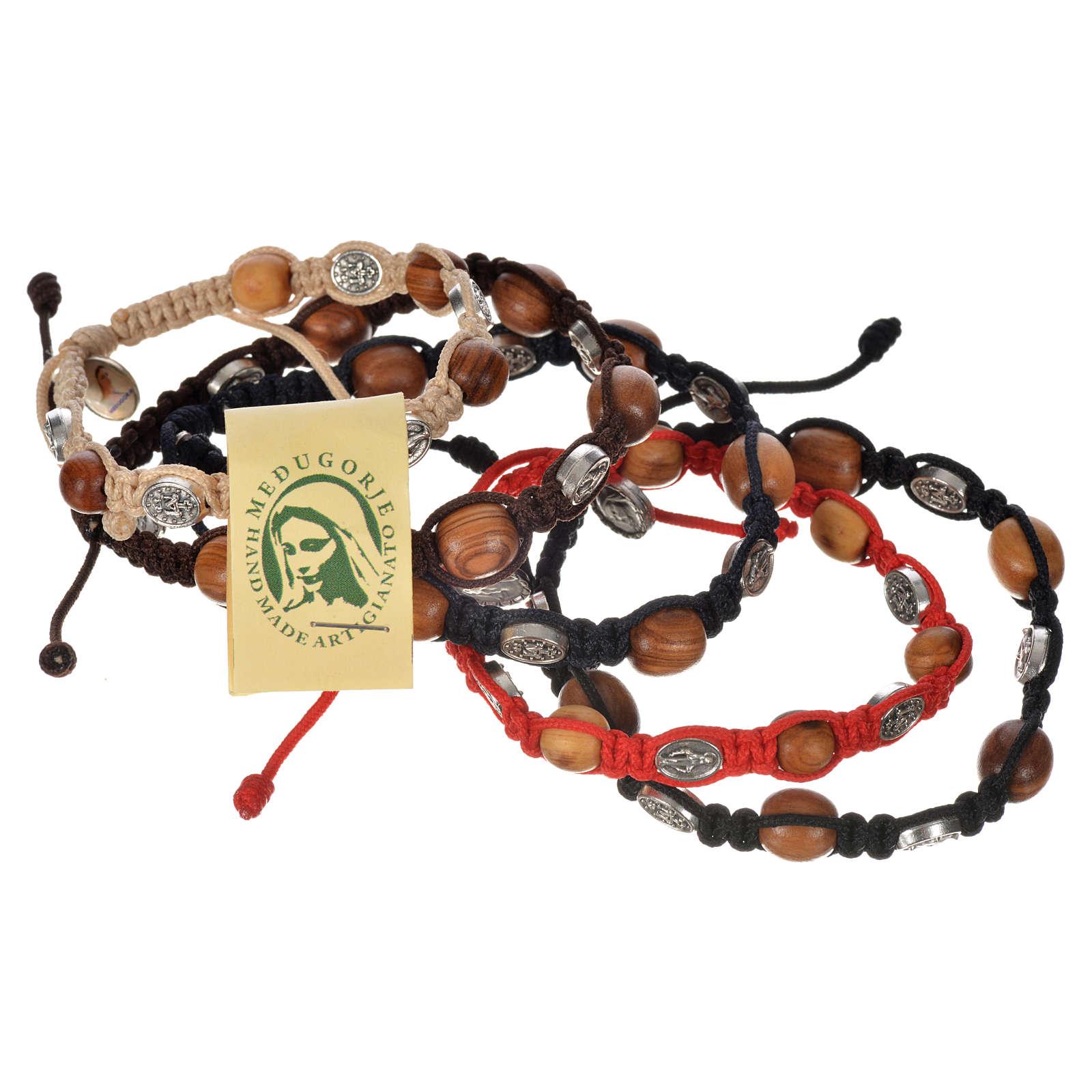 Bransoletka drewno oliwne i medaliki Cudowna Madonna 4
