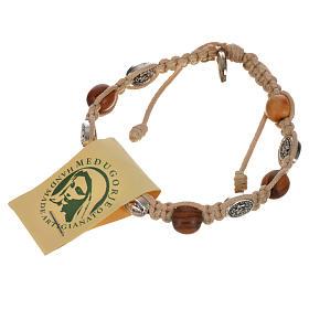 Bransoletka drewno oliwne i medaliki Cudowna Madonna s12