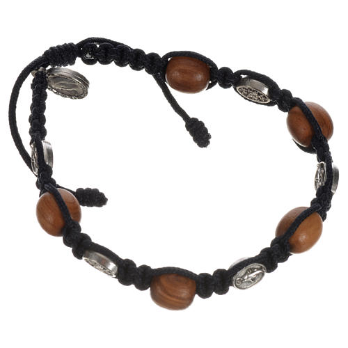Bransoletka drewno oliwne i medaliki Cudowna Madonna 10