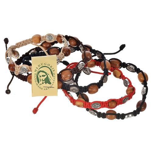 Bransoletka drewno oliwne i medaliki Cudowna Madonna 1