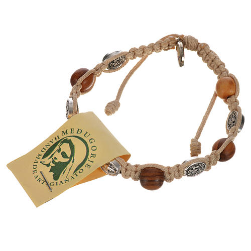 Bransoletka drewno oliwne i medaliki Cudowna Madonna 6