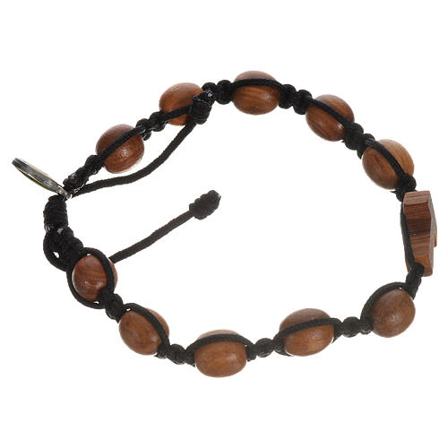 Bracelet in olive wood with Tau cross 7