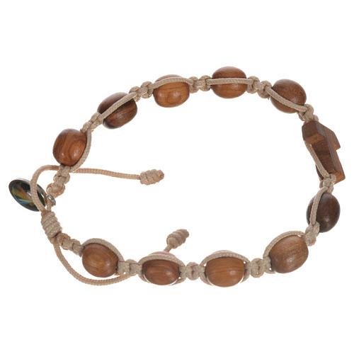 Bracelet dizainier bois d'olivier avec tau 14