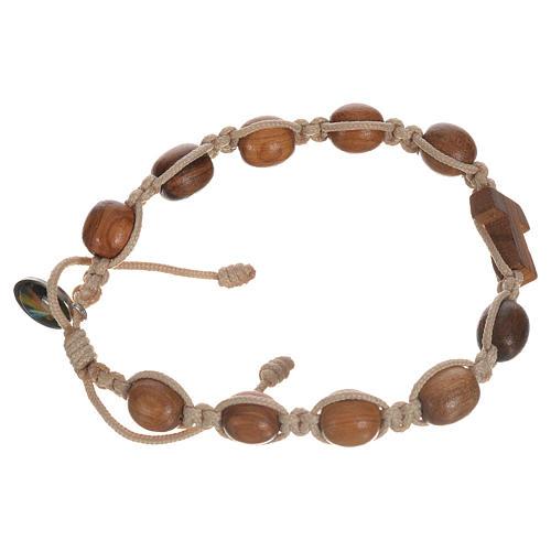 Bracelet dizainier bois d'olivier avec tau 6