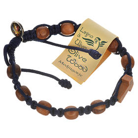 Bracelet in olive wood with Tau cross s5