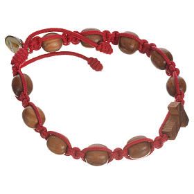 Bracelet in olive wood with Tau cross s8