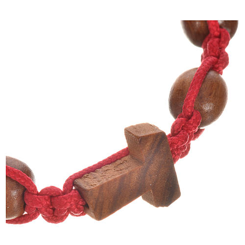 Bracelet in olive wood with Tau cross 2