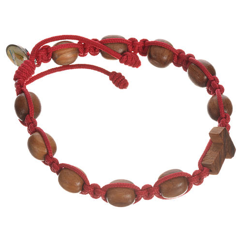 Bracelet in olive wood with Tau cross 8