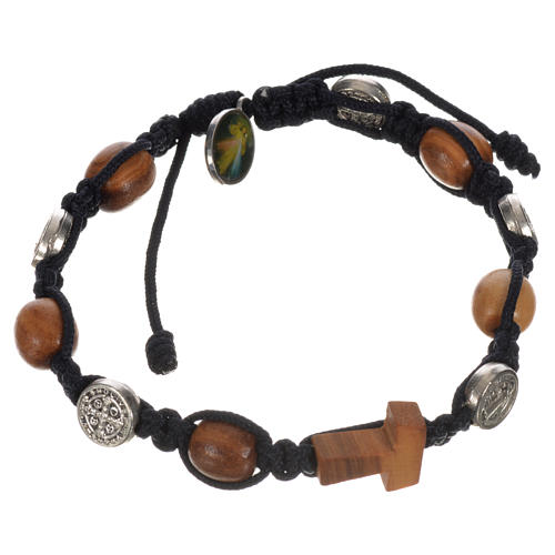 Tau cross bracelet with medals 9