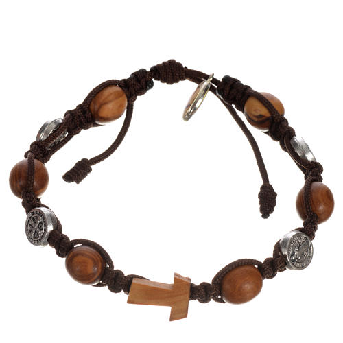 Tau cross bracelet with medals 11
