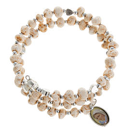 Bracelets, peace chaplets, one-decade rosaries: Bracelet with spring in dark stone