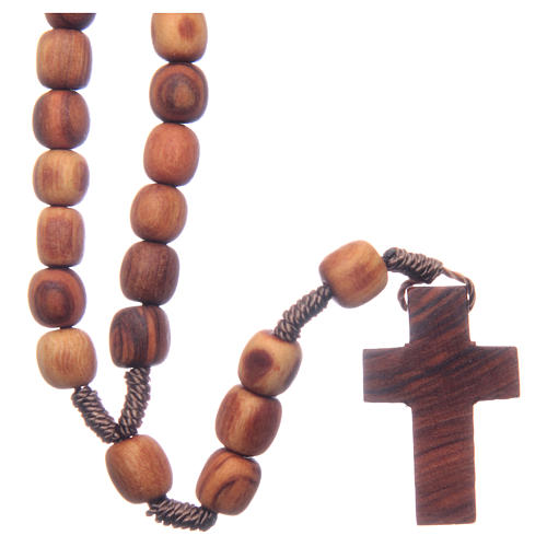 Medjugorje rosary with clasp, olive wood 7x8mm 1