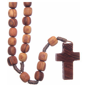 Medjugorje rosary with clasp, olive wood 7x8mm s2