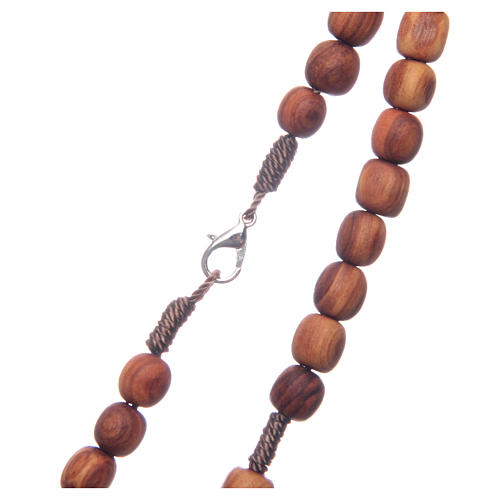 Medjugorje rosary with clasp, olive wood 7x8mm 3