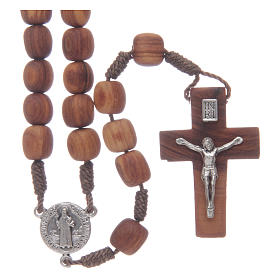 Olive wood Medjugorje rosary with cross 9mm s1