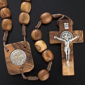 Różaniec drewno oliwne medalik Św. Benedykta s2