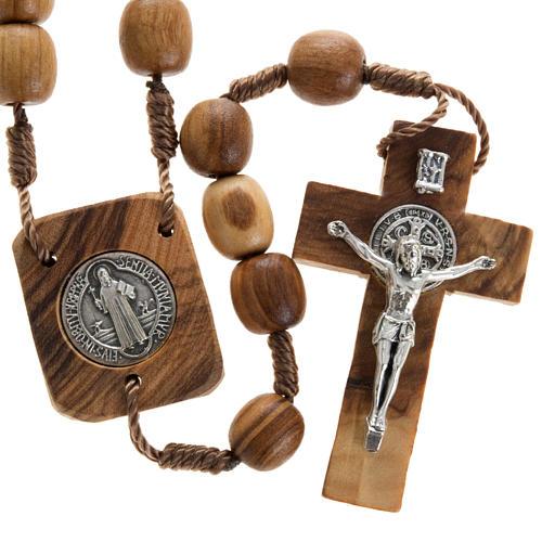 Różaniec drewno oliwne medalik Św. Benedykta 1