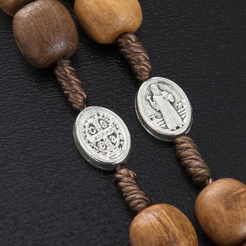 Różaniec drewno oliwne medalik Św. Benedykta 3