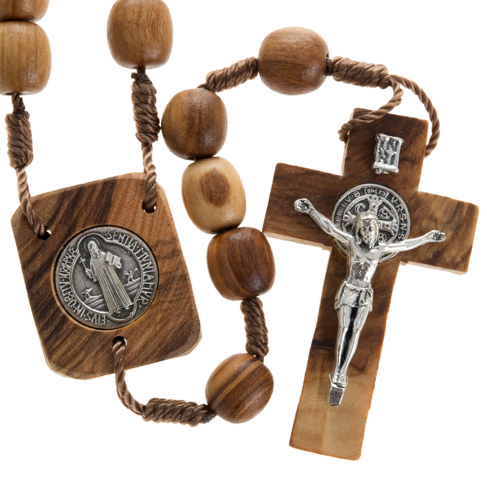 Olive wood rosary with Saint Benedict medal 4