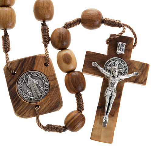 Olive wood rosary with Saint Benedict medal 1