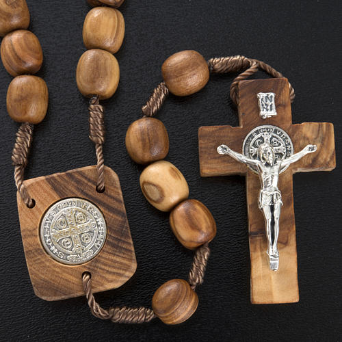 Olive wood rosary with Saint Benedict medal 2