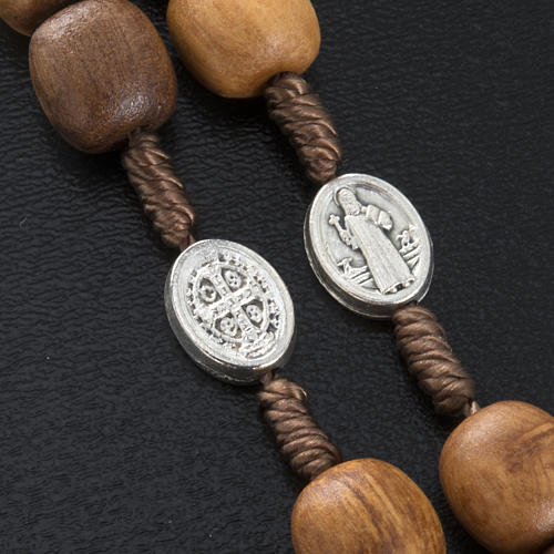 Olive wood rosary with Saint Benedict medal 3