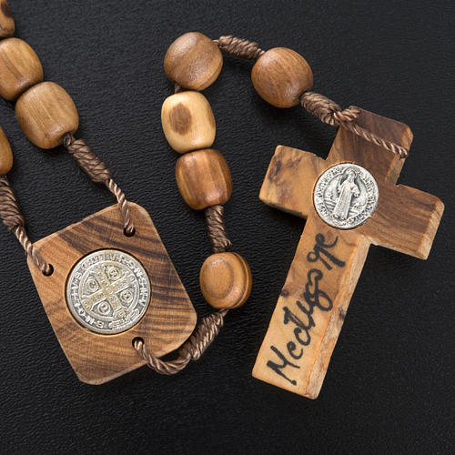 Olive wood rosary with Saint Benedict medal 5