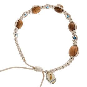 Bracelets, dizainiers: Bracelet bois d'olivier et coeurs multicolore